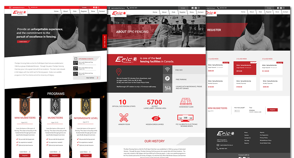 epic fencing web design
