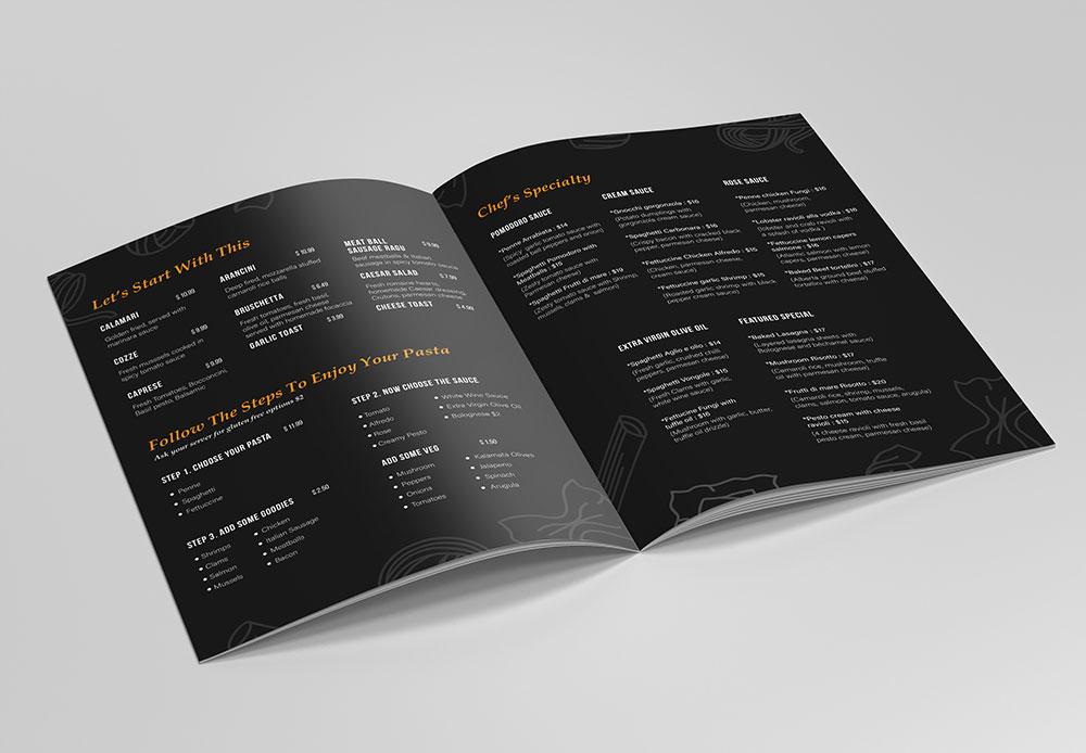 Menu Design YYC Pasta Bar