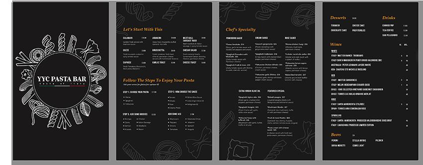 YYC restaurant menu