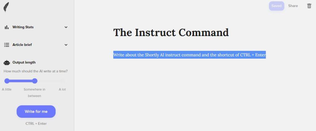 ShortlyAi Instruct Cmd