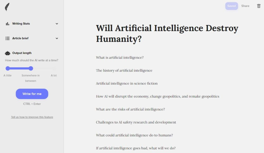 Shortly AI Article Outline